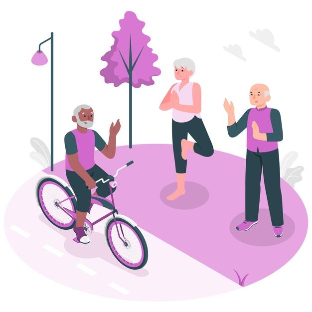 ilustracion concepto personas mayores activas Refuerza tus defensas y mejora tu salud